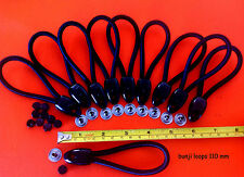 BUNJI BUNGEE SHOCKCORD LOOPS 110 mm x 10 BLACK + POSTS INC POSTAGE