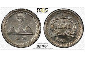 GUATEMALA , 1/4 REAL 1875 P - PCGS MS 63 , RARE