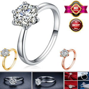 6 Claw Silver Color Ring Women Wedding Ring Bridal Engagement Jewelry Size 4-10