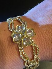 wedding or bridesmaid gold executive quality cubic zirconia bracelet