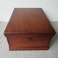 "Vintage Bible Box, Wood Keepsake Storage Hinged Lid, Front Clasp, 16"" x 12"" x 8"""