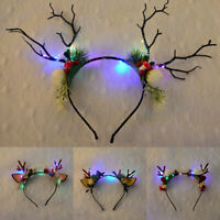 Crown Hair Clip Christmas Reindeer Hair Band LED Antlers Headband Gift Party 1PC