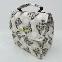 Betsey Johnson Insulated Flap Top Lunch Tote Bag Cream White Cat Face Print