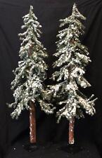 Alpine Tree Christmas Tree New Set/2 Snow Flocked Primitive Alpine Trees 4' Foot