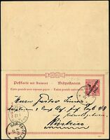DOA 1901 Doppel-Postkarte P 8 Tanga 30.9.01 via DES nach Küstrin 233
