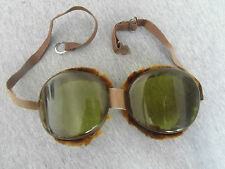 VINTAGE WW2 ERA GERMANY PILOT AVIATOR OR MOTOR-CYCLIST SAFETY GLASSES GOGGLES #-