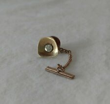 Rhinestone Safety Chain 1940s-1950s Wow Vintage Tie Tac Gold Tone Metal