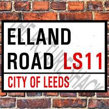 28cm x 14.5cm ELLAND ROAD LEEDS  METAL PLAQUE SIGN LONDON ENGLAND UNITED KINGDOM