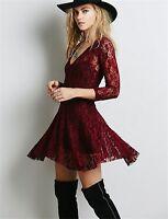 3 Colour Sexy V-neck 3/4 Sleeve Floral Lace A-line Mini Dress 6 8 10 12 14 16 18