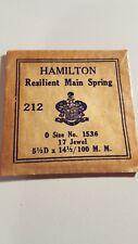 no.1536, 17 Jewel Mainspring Hamilton 212 , 0 Size