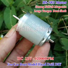 RS-385 Motor DC 12V 12000RPM High Speed Large Torque Dual Shaft Strong Magnetic
