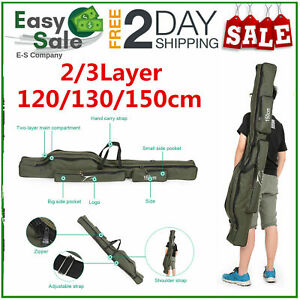 2/3Layer 120/130/150cm Folding Fishing Rod Bag Carrier Canvas Pole Tools Storage