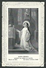 Holy card antique canivet de Santa Franca estampa santino holy card