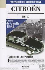 FICHE FASCICULE ATLAS CITROEN DS 19 CHARLES DE GAULLE 1962 DEPLIANT 6 PAGES