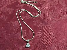 "Womens Girls Triangle Zirconia Charm Flexible Necklace Chain 16"""