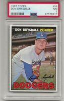 1967 TOPPS #55 DON DRYSDALE, PSA 7 NM, HOF, LOS ANGELES DODGERS, L@@K !