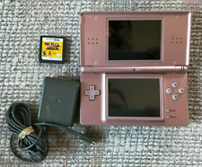 NINTENDO DS LITE HANDHELD CONSOLE METALLIC PINK ROSE WITH CHARGER AND GAME