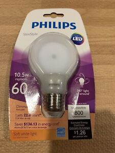 Philips Slim Style 60w Equivalent SoftWhite Dimmable LED Bulb