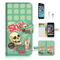 ( For iPhone 7 ) Wallet Case Cover P1271 Skull