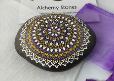 Large Hand Painted Alchemy Stone w. Lilac Yellow, White & Gold Geometric Mandala