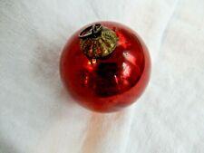 "Antique Red 2 1/8"" Diameter German Kugel Ball Ornament C1880's"