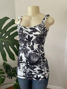 LULULEMON Aria Tank II Top in Brisk Bloom Black/White Floral Yoga Tank Shirt 6