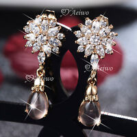 18K YELLOW GOLD GF MADE WITH SWAROVSKI CRYSTAL STUD FLOWER EARRINGS