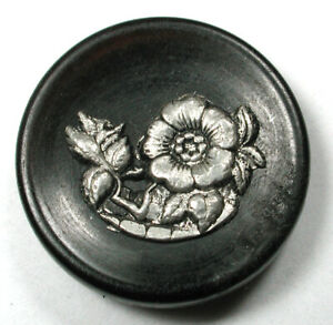 """Antique Horn Button with Metal Flower OME - 1"""""""