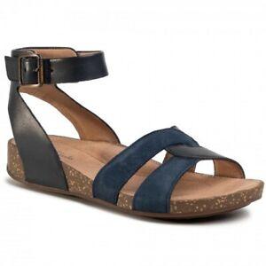 Clarks Ladies Un Perri Look Navy Leather Casual Sandals Size UK 7.5 D