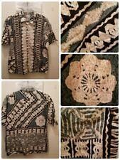 Hilo Hattie Hawaiian Shirt Mens Size Large Geometric Aloha Island Textured