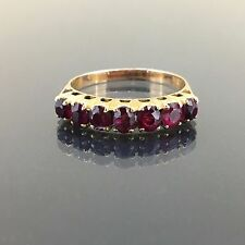 Antique 14k Pink Rose gold Natural untreated Ruby 7stone Estate ring band 1.30ct