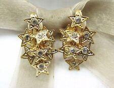 Element Austrian Crystal Clip On Earrings 18K Gold Plated Multi Stars Swarovski