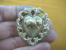 (b-pig-31) little Boar wild Pigs pig razor back love scrolled heart pin pendant
