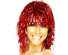 Metallic Red Tinsel Wig Cyber Disco Nu Rave Festival Lady Gaga Fancy Dress