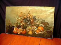 "Large 30"" Antique Victorian Still Life Fruit Painting"