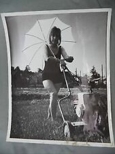 Vintage B&W Newspaper Photo Young Girl Mowing Lawn Gas Powered Mower Umbrella