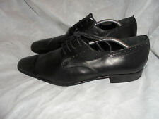 ZARA  MEN'S BLACK LEATHER LACE UP BROGUES SHOES SIZE UK 10 EU 44 VGC