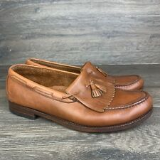 SAS Brown Leather Men's Size 11.5 W Slip On Kiltie Tassel Handsewn Loafers