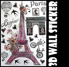 3D Pink Paris Wall Sticker decals Home Decor Decoration Wallpaper Room Art