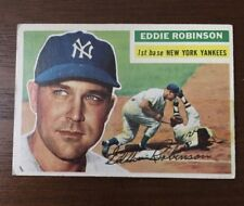 EDDIE ROBINSON 1956 TOPPS AUTOGRAPHED SIGNED AUTO BASEBALL CARD 302 YANKEES