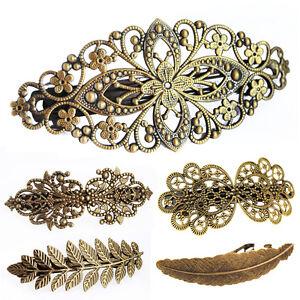 axy® -Vintage  Haarklammer-Haarspangen -Bronzefarben Blume-Headwear