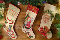 Pretty Needlepoint Christmas Stocking Hand Crafted Santa Clause Duck Knots