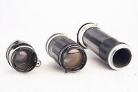 Lot of 3 Vintage Manual Focus Miranda Mount Camera Lenses Parts Repair V13