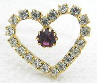 VTG Gold Tone Clear Purple Rhinestone Heart Necklace Pendant