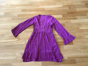 Phase Eight Kleid Empire lila pink Volant 100 % Seide Gr. 36 / 38