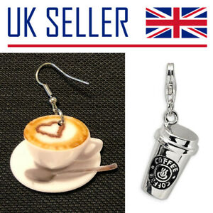 NEW Coffee Lover Gifts - Keyring, Earrings, Charm, Latte, Star, Caffeine, Cup