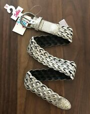 Justice Girl Metallic Braided Silver Belt Small Kids Buckle New Nwt Small S Boho