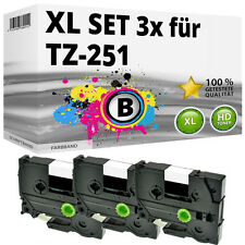 3x Farbband kompatibel Brother P-Touch PT E100 1010 1230 H100R H300 D200 TZ-251