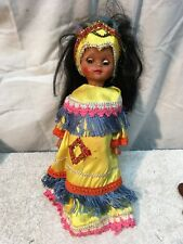 Vintage Indian Girl   Souvenir Doll 14in tall Crochet out fit