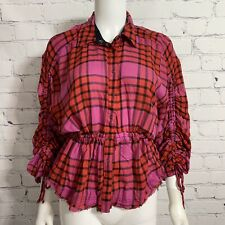 We The Free Free People Womens Red Combo Plaid Ruched Sleeve Shirt XS New